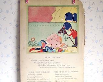 Vintage Art Deco Mother Goose Illustration - Humpty Dumpty/ Jolly Miller