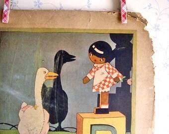 Vintage Art Deco Mother Goose Illustration - Goosey Gander/Jack Sprat