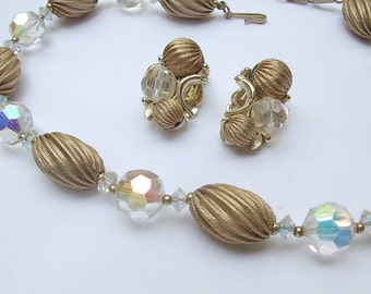 Vintage Crystal necklace and Crystal earrings set, Lisner jewelry set, Gold beaded necklace set, Aurora borealis set, Beaded earrings