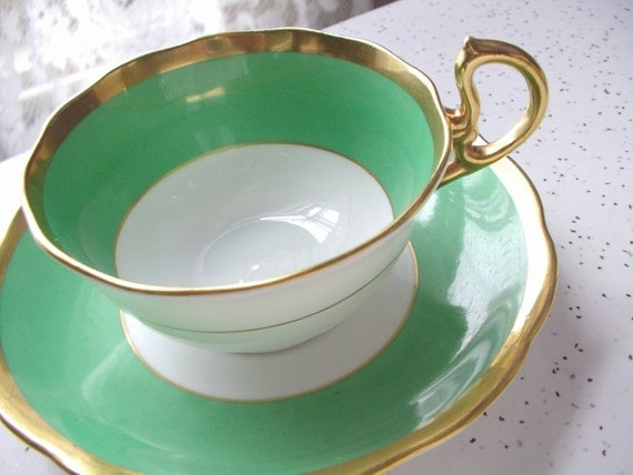 antique green tea cup and saucer set, vintage 1920's Royal Albert English china tea set, green and gold tea cup, St Patrick's Day gift