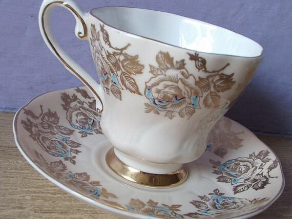 Vintage gold English roses teacup and saucer, Royal Grafton tea cup, Beige tea cup, English tea cup, Bone china teacup Mid Century china tea