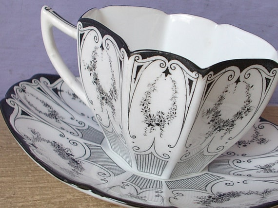 Antique tea cup, vintage 1920's Shelley black garland tea cup, English tea set, black and white tea cup Art Deco tea cup