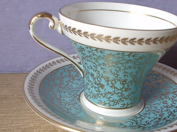 Antique robin's egg blue tea cup and saucer set, vintage Aynsley bone china tea cup, blue gold and white English tea set