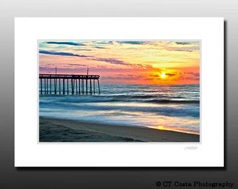 Beach Sunrise Photo, Landscape beach print, Blue, Orange, Signed Matted Print, Ready for framing, Bathroom wall art
