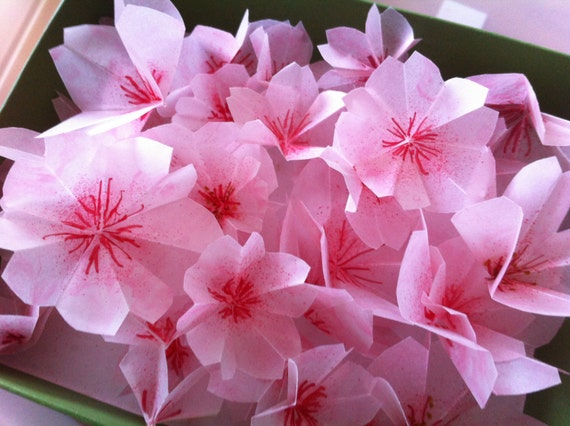 Items similar to Origami cherry blossoms / Sakura flowers ... - photo#27