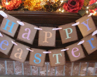 Easter Banner Happy Easter Garland Spring Sign Bunting Pastel Colors Great Photo Prop Can Custom Colors (E15)