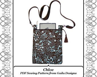 """PDF Sewing Pattern iPad Mini Kindle Fire 7"""" Tablets Nook eReader case cover, padded with zipper, shoulder strap, fully lined """"Chloe"""""""