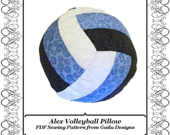 "Volleyball or Water Polo Pillow PDF Sewing Pattern DIY home decor ""Alex"""