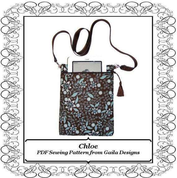 "PDF Sewing Pattern iPad Mini Kindle Fire 7"" Tablets Nook eReader case cover, padded with zipper, shoulder strap, fully lined ""Chloe"""