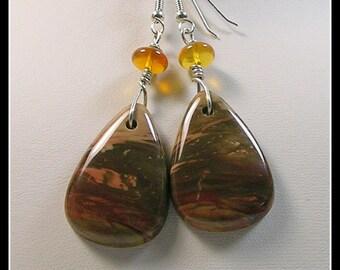 Untreated Carrasite Jasper and Oregon Fire Opal Earrings