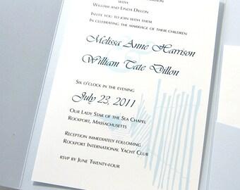 Beach Wedding Invitation Blue Beach Walk Seaside Dune Fence Ocean Custom Pocketfold Wedding Invite
