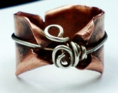 MADE TO ORDER Thumb ring in copper, Twisted Fairy rings, Whimsical, enchanted elven band, ooak hand rolled band, free form rings, organic