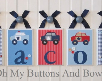 Hanging Name Letters . Nursery Name Blocks . Nursery Decor . Baby Name Blocks . Hanging Wood Name Blocks . Police Theme . Police Cars