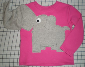 Elephant trunk sleeve childrens sweatshirt, Bubblegum pink girls 24  months