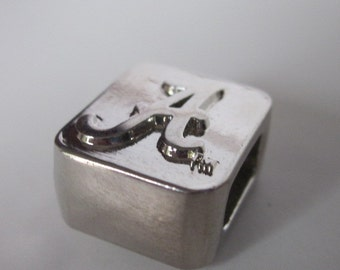 "ALABAMA ""A"" Silver Square Slide Charm Bead for Crimson Tide Bracelet Necklace or Chain-Roll Tide"