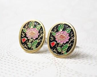 Pink Dahlia Earrings - Flower Enamel - Oval - Surgical Steel Earrings - Stud Earrings