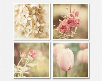 Shabby Chic Floral Print or Canvas Wrap Set, Pink Ivory Cream, Cottage Flower Decor, Set of 4, Fits IKEA RIBBA, Gift for Her, Roses Tulips.
