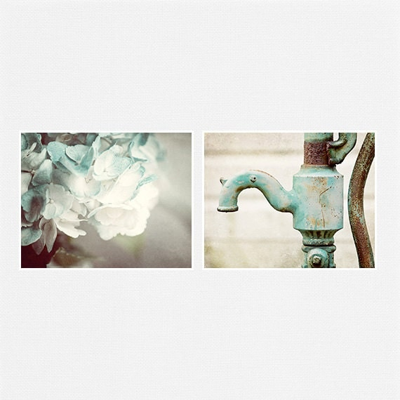 Teal print set bathroom decor bathroom art set mint aqua for Teal bath sets
