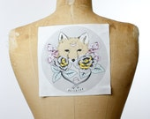 "printed canvas patch - Buttercup - 7"" x 7"""