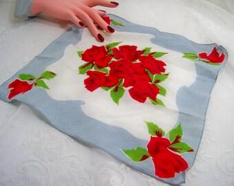 Vintage Ladies Handkerchief Roses Red Rose Wedding