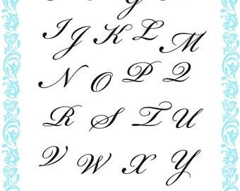 "Alphabet clear stamps set ""Birkham Script"" FLONZ 727 acrylic clingy unmounted"