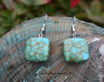 Mosaic Turquoise Earrings - Native American Inspired - Southwestern Style - Turquoise Squares - Gift For Her - Gift Under 15