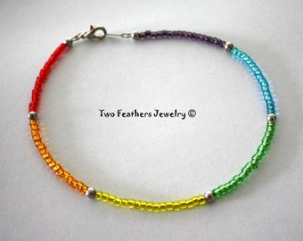 Rainbow Anklet - Beaded Anklet - Glass Beads - Silver Beads - Hippie - Bohemian - Ankle Bracelet - Colorful Anklet - Two Feathers Jewelry