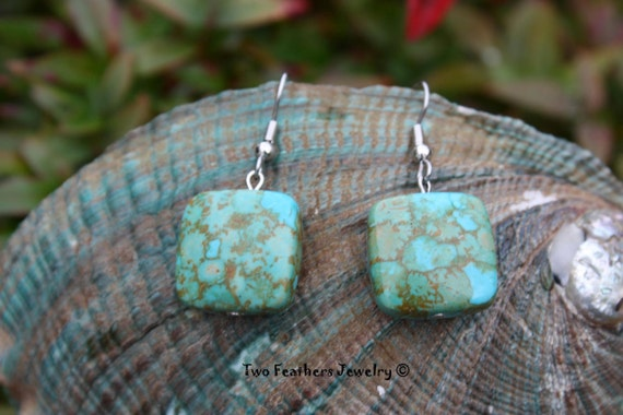 Mosaic Turquoise Earrings - Native American Inspired - Gift For Her - Southwestern - Turquoise Squares - Mothers Day - Gift Under 15