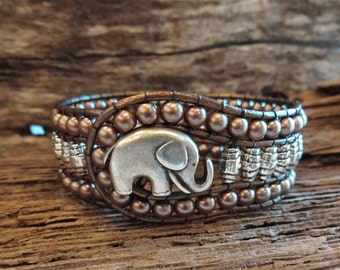 Elephant Bracelet , Tibetan Silver and Pearl Cuff Leather Wrap, for good luck lucky