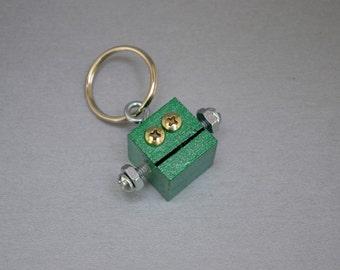 Metallic Green Robot Key Chain, Zipper pull, Functional Art, Back to School