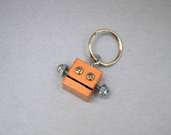 Copper Robot Key Chain, Functional Art