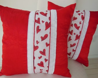 Red Pillow - Heart Pillow - Ribbon Pillow - Valentine Pillow - Sparkle Pillow - Red and White  -  15 x 15 Inch - Pillow Insert Included