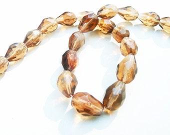 Amber Glass Beads, 20 pcs