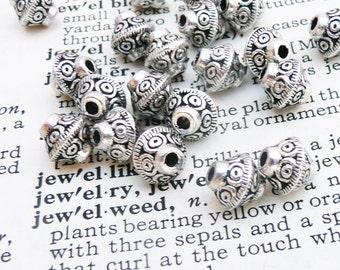 Bicone metal beads, tibetan silver beads