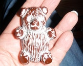 pin vintage carved teddy bear painted galalith lucite