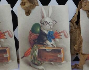 Vintage Easter Bunny Rabbit Tags - Tan Seam Binding