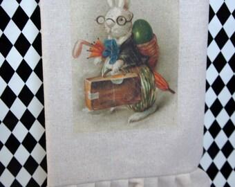 Vintage Easter Bunny Tea Towel