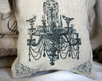 Chandelier Crowned Birds Mini Pillow