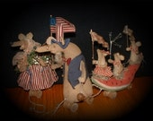 Primitive Folk Art Dolls Americana Mice Independence Day Watermelon Float