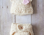 Crochet Hat Pattern - Newborn Bear hat AND Diaper cover photo prop