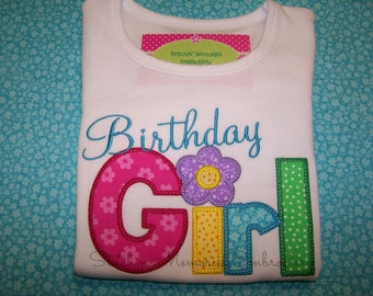 Delight your little girl with this colorful Happy Birthday shirt now in short sleeves or long sleeves