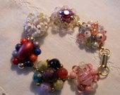 cluster beaded  earring pearl  bracelet, pink white bridesmaid