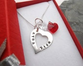 Personalised sterling silver heart necklace family jewellery metal stamped