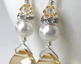 Golden Shadow Bridal Earrings. Bridal Jewelry. Bridesmaid Earrings. Wedding Jewelry. Bridesmaids Jewelry