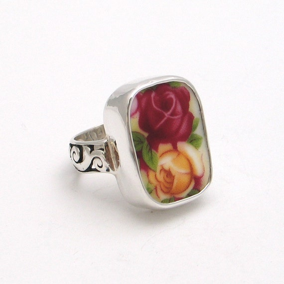 Size 10 Broken China Jewelry Old Country Roses Double Rose Sterling Thin Band Ring