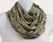 Infinity Scarf, Loop, Circle Sage Green Brown and Tan Floral Design ~ SH142-L1
