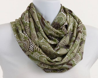 Infinity Scarf, Loop, Circle Sage Green Brown and Tan Floral Design ~ SH142-L1