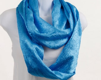 Infinity Scarf - BRILLIANT Blue -Crinkles of Shimmering Richness Silky ~ SK108-L1