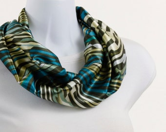 Satiny Infinity Scarf - Blue, Olive Green, Teal and Aqua ~ SK013-S5