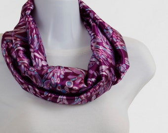 Infinity scarf - Raspberry FUN Lavender, and Aqua satiny abstract design ~ SK127-S5